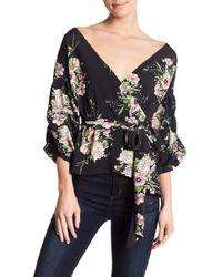 Oober Swank - Long Sleeve Floral Wrap Blouse - Lyst