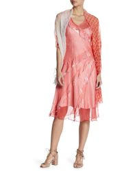 Komarov - Ombre Side Ruffle Dress With Shawl - Lyst