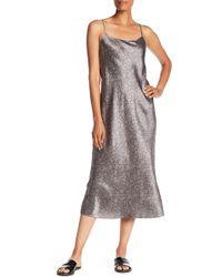 Vince - Silk Printed Midi Dress - Lyst