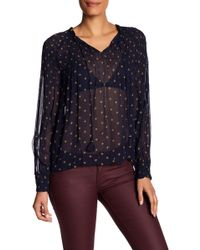 Lucky Brand - Patterned Smocked Top - Lyst