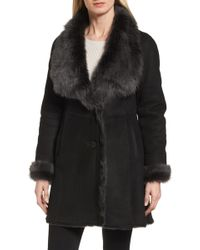 Hide Society - Genuine Toscana Shearling Wing Collar Coat - Lyst