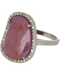 Adornia - Sterling Silver Rose Cut Pink Sapphire Diamond Halo Ring - Lyst
