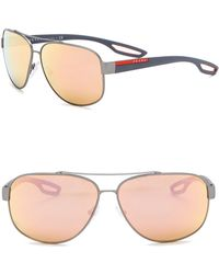 Prada - 63mm Navigator Sunglasses - Lyst