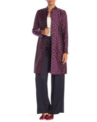 Anne Klein - Abstract Hearts Mandarin Collar Trench Coat - Lyst