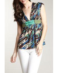 Sky - Multicolor Geometric Silk Blouse - Lyst