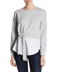 Two By Vince Camuto - Long Sleeve Front Tie Sweatshirt - Lyst
