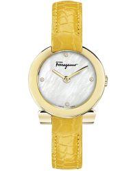 Ferragamo - Women's Mother Of Pearl & Diamond Croc Embossed Leather Strap Watch, 30mm - 0.02 Ctw - Lyst