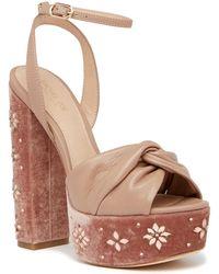 Rachel Zoe   Claudette Embellished Velvet Platform Sandal   Lyst