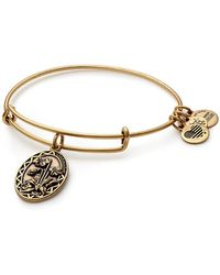 ALEX AND ANI - Godmother Flower Charm Expandable Wire Bangle Bracelet - Lyst