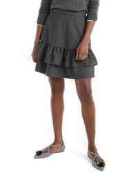 J.Crew | Wool Blend Flannel Ruffle Skirt (petite) | Lyst