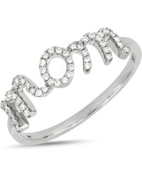 Bony Levy - 18k White Gold Pave Diamond Detail Mom Ring - Lyst