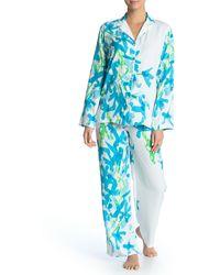 Natori Classic Long Sleeve Top & Pants Pyjama 2-piece Set - Blue