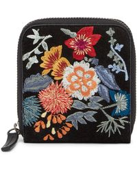 Lucky Brand - Super Bloom Floral Embroidered Suede Wallet - Lyst