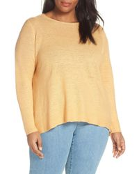 b04a56536ae Eileen Fisher - Round Neck Tunic Top (plus Size) - Lyst