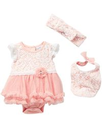 Nicole Miller - Lace Overlay Skirted Bodysuit, Bib & Headband Set (baby Girls) - Lyst