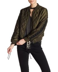 Pam & Gela - Quilted Lace Up Bomber Jacket - Lyst