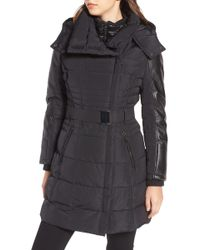 Guess - Belted Mixed Media Coat - Lyst