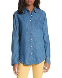 266971bcd47 Lyst - 7 For All Mankind Destroyed Denim Shirt in Blue