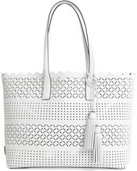 MILLY - Laser Perforated Leather Tote - Lyst