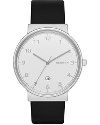 Skagen - Men's Leather Strap Watch - Lyst