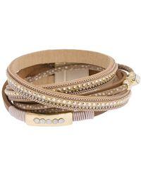 Saachi - Autumn Faux Suede Studded Double Wrap Bracelet - Lyst