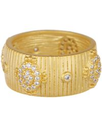 Freida Rothman - 14k Yellow Gold Amazonian Allure Plated Sterling Silver Pave Cz Ring - Size 8 - Lyst