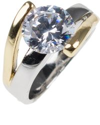 Kenneth Jay Lane - Two-tone Cz Nest Band Ring - Lyst