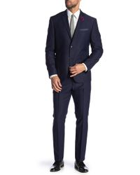 Perry Ellis - Navy Dobby Two Button Notch Lapel Very Slim Fit Suit - Lyst