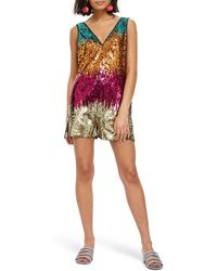 TOPSHOP - Festival Rocky Sequin Romper - Lyst