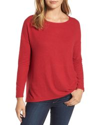 Gibson - Cosy Fleece Ballet Neck High/low Pullover (petite) - Lyst