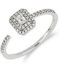 Bony Levy - 18k White Gold Faceted Baguette & Halo Set Diamond Detail Open Ring - 0.30 Ctw - Lyst