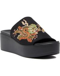 Bebe - Stretchy Embroidered Slide Sandal - Lyst