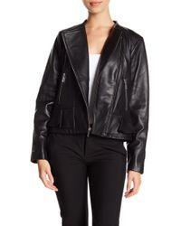 MICHAEL Michael Kors - Ruffle Hem Leather Moto Jacket - Lyst