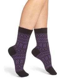 Pantherella Faith Fair Isle Crew Socks - Purple
