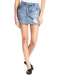 Vigoss - Jagger Distressed Denim Mini Skirt - Lyst