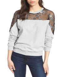 Vince Camuto - Embroidered Swiss Dot Panel Sweatshirt - Lyst