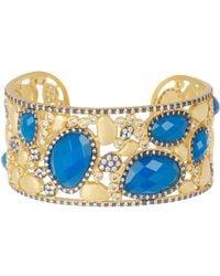 Freida Rothman - 14k Gold Plated Sterling Silver Baroque Blues Mini Stone Cz Open Bracelet - Lyst