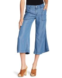 Level 99 - Mid Rise Chambray Culotte Pants - Lyst