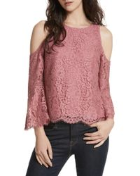 Joie | Abay Cold Shoulder Lace Top | Lyst