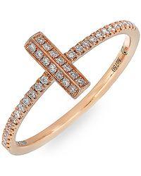 Bony Levy - 18k Rose Gold Diamond Small Bar Stack Ring - 0.15 Ctw - Lyst