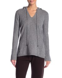 In Cashmere - V-neck Cashmere Hooded Sweater - Lyst