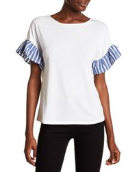 Cece by Cynthia Steffe - Mix Media Flutter Sleeve Blouse - Lyst