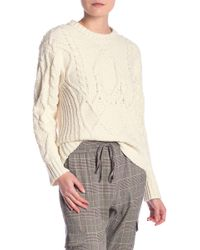 473bdfed0db Dress Forum - Cable Knit Crew Neck Sweater - Lyst