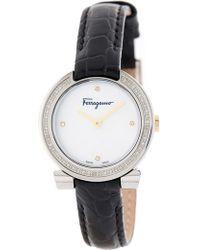 Ferragamo - Women's Gancino Evening Diamond Accented Croc Embossed Leather Strap Watch, 30mm - Lyst
