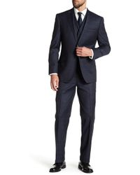 English Laundry - Charcoal Windowpane Two Button Notch Lapel Vested Wool Suit - Lyst