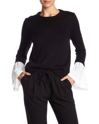 1.STATE - Mixed Media Crew Neck Sweater - Lyst