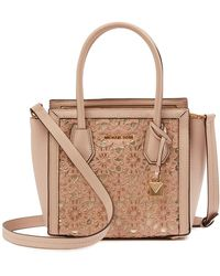 MICHAEL Michael Kors - Floral Embroidered Leather Mercer Mini Tote - Lyst