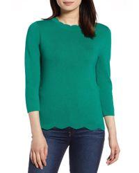 Halogen - Scallop Edge Sweater (regular & Petite) - Lyst
