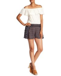 Angie - Printed Lace Wasit Detail Shorts - Lyst