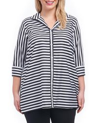 Foxcroft - Dani Sateen Stripe Shirt (plus Size) - Lyst